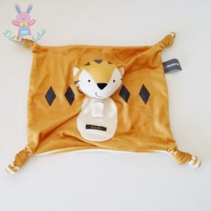 Doudou plat Tigre ggrrhh orange blanc rayé ORCHESTRA