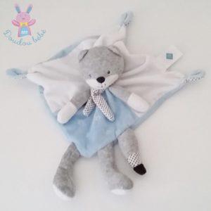 Doudou plat Renard Chat bleu blanc gris étoiles TEX