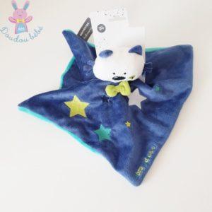 Doudou plat Chat bleu vert étoiles Abracadachat ORCHESTRA
