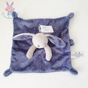 Doudou plat Lapin bleu gris étoiles att tétine SIMBA