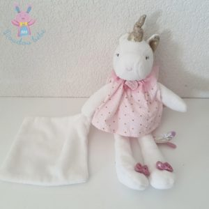 Licorne rose blanc mouchoir Attrape-rêve DOUDOU ET COMPAGNIE