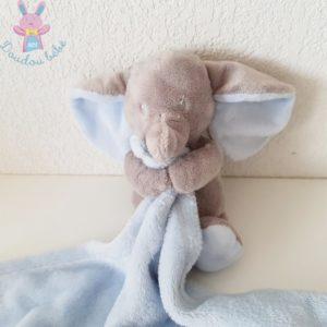 Doudou éléphant gris couverture bleu NICOTOY SIMBA