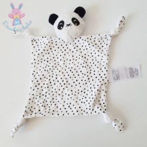 Doudou plat Panda blanc noir pois étoiles VERTBAUDET
