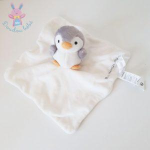 Doudou plat Pingouin blanc gris mon premier SERGENT MAJOR