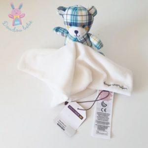 Doudou Ours carreaux bleu mouchoir blanc SERGENT MAJOR