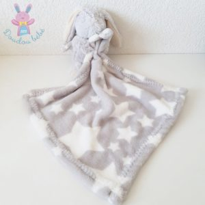 Doudou Lapin poils gris couverture étoiles blanc I2C