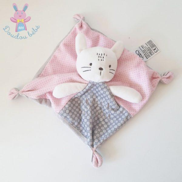 Doudou plat Chat rose gris MOTS D'ENFANTS