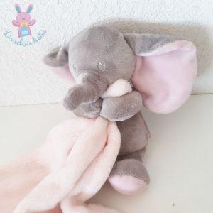 Doudou éléphant gris couverture rose SIMBA NICOTOY