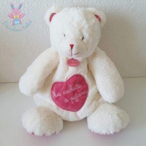 "Doudou Ours ""câlins"" range cachette pyjama rose blanc BABY NAT"