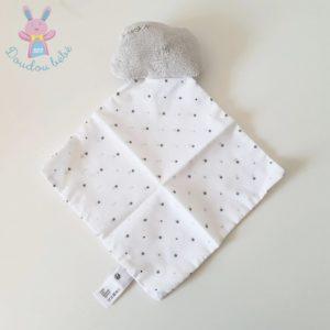 Doudou Nuage gris mouchoir tissu blanc étoiles CYRILLUS