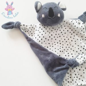 Doudou plat Koala gris taupe blanc pois étoiles VERTBAUDET