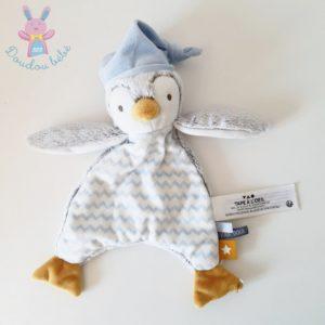 Doudou plat Pingouin gris bleu blanc TAPE A L'OEIL TAO