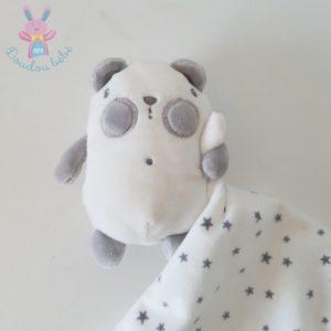 Doudou Ours mouchoir blanc gris étoiles TAPE A L'OEIL TAO