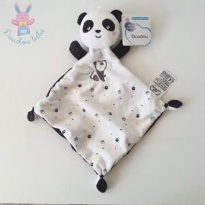 Doudou plat Panda noir blanc empreintes MOTS D'ENFANTS
