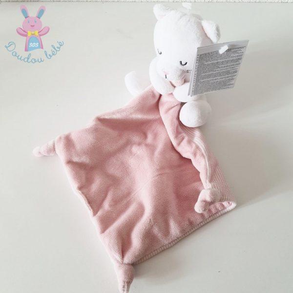 Doudou Chat blanc mouchoir rose NICOTOY SIMBA