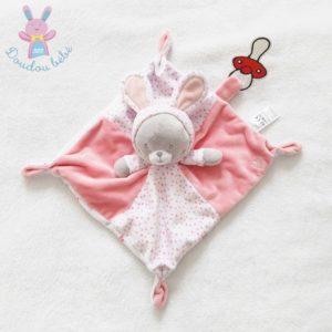Doudou plat Chat déguisé en Lapin rose blanc gris pois fleurs Gémo