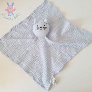 Doudou plat Chat tissu lange coton bleu BOUT'CHOU