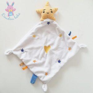 Doudou étoile mouchoir jaune bleu orange blanc BABY CALIN