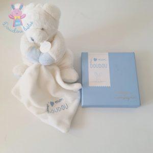 Ours blanc bleu mouchoir J'aime mon doudou DOUDOU ET COMPAGNIE