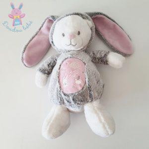 Doudou Ours Lapin gris rose luminescent MOTS D'ENFANTS