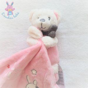 Doudou Ours rose blanc mouchoir sweet dreams MOTS D'ENFANTS