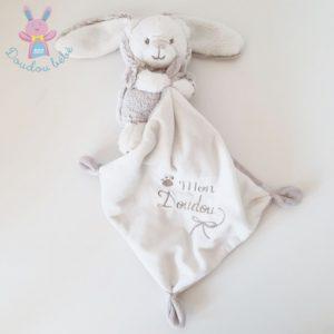 Doudou Ours déguisé en Lapin mouchoir beige blanc SIMBA