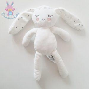 Doudou Lapin dormeur blanc rose couronne SIMBA