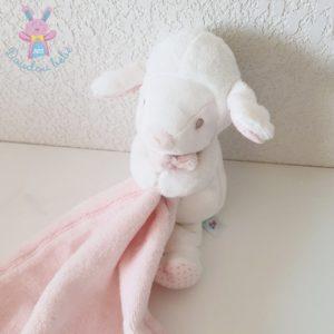Doudou Mouton rose blanc mouchoir couverture NICOTOY SIMBA