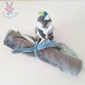 Doudou Pingouin Louis couverture gris bleu NOUKIE'S