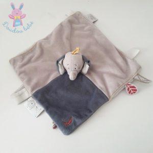 Doudou plat éléphant Bao beige bleu étiquettes NOUKIE'S