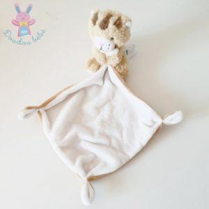 Doudou Lion Lionceau Chat beige blanc mouchoir TEX BABY