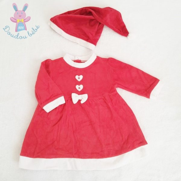 Robe de Noël rouge + bonnet bébé fille 12 MOIS