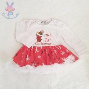 Body robe de fête Noël blanc rouge bébé fille 18/24 MOIS