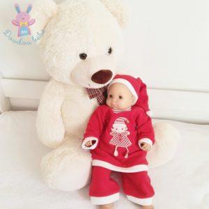 Tenue de Noël polaire rouge + Bonnet bébé fille 6 MOIS