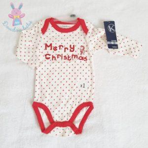 """Body rouge et blanc de Noël """"Merry christmas"""" bébé 9 MOIS"""