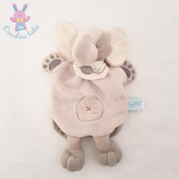 Doudou marionnette éléphant gris BABY NAT