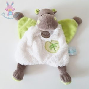 Doudou plat Bazile Hippopotame blanc vert marron BABY NAT