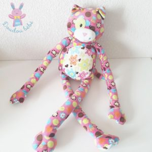 Grand doudou Chat rose fleurs multicolore MARY MEYER