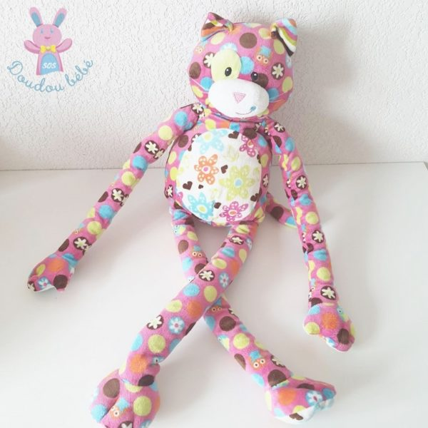 Doudou Chat rose fleurs MARY MEYER