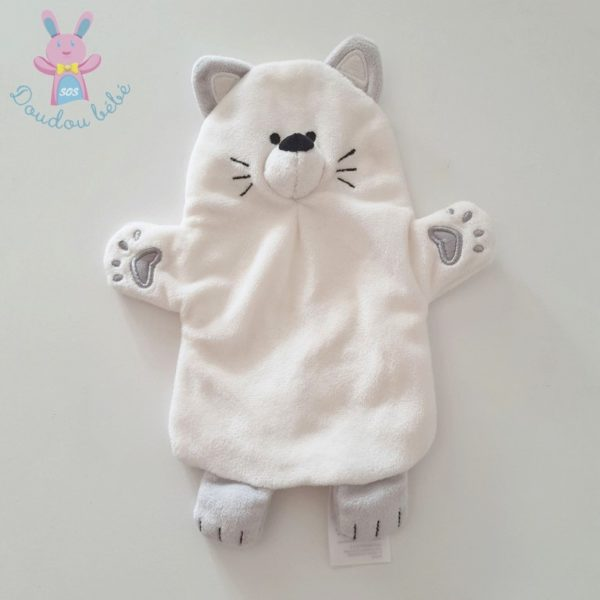 Doudou marionnette Chat blanc gris VERTBAUDET