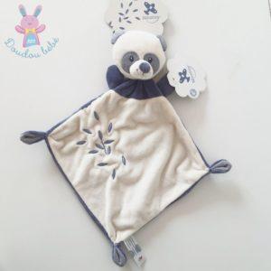 Doudou plat Panda blanc et bleu feuilles NICOTOY