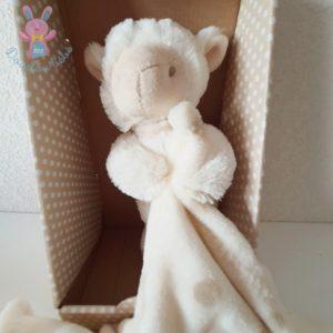 Doudou Mouton beige écru couverture polaire pois I2C