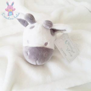Doudou plat Vache Girafe polaire blanc gris taupe MOON & STARS
