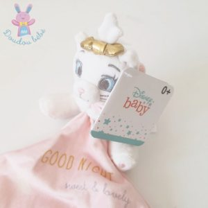 Doudou Chat Marie blanc mouchoir rose Good Night DISNEY