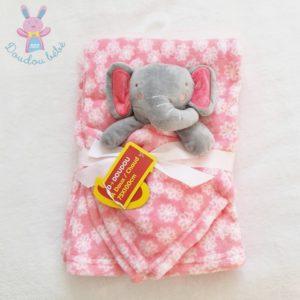 Doudou plat éléphant rose gris blanc fleurs + Plaid BABYGRO