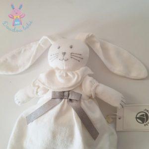 Doudou Lapin blanc robe nœud gris PETIT BATEAU