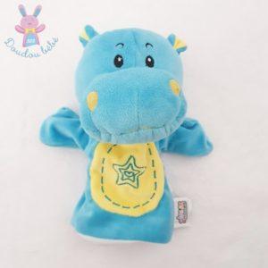 Doudou marionnette Hippopotame bleu jaune étoiles JEUX 2 MOMES