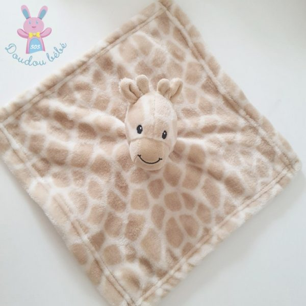 Doudou plat Girafe beige blanc