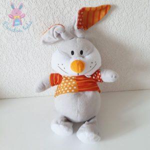 Doudou Lapin gris et blanc pull orange à pois FIZZY