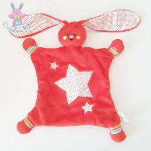 Doudou plat Lapin rouge blanc étoiles colorées AUCHAN